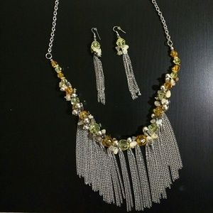 Silver Tassel Necklace & Earrings set